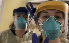 While working through a global pandemic, Yvonne Danko (right) and a friend pose in their PPE gear. Photo courtesy of Yvonne Danko