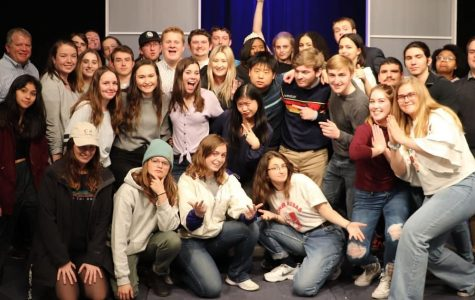 Chelsea Johanning (bottom, third from left) poses with the MUTV team and friends after the final show of Spring 2019.