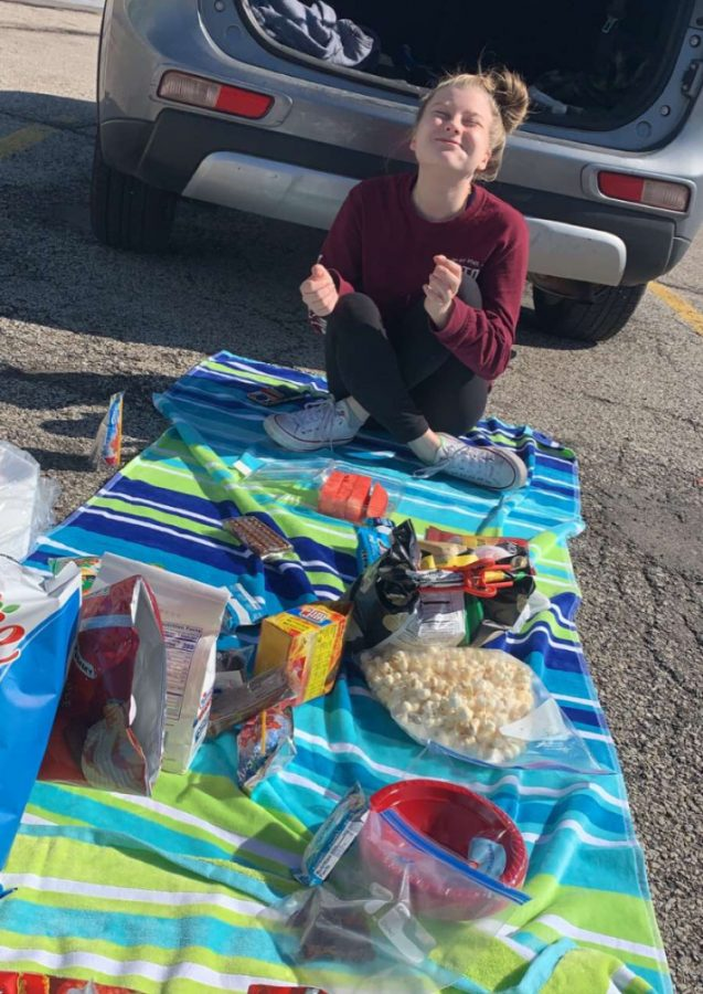 Nora McCaughey recently had a picnic with friends in a parking lot from 12 feet apart. Photo courtesy of Nora McCaughey.