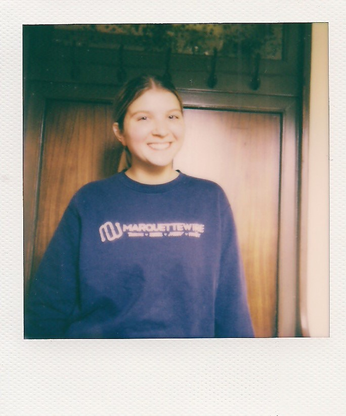 Emma+Brauer+sports+the+Marquette+Wire+sweatshirt+she+got+as+a+first-year+student.