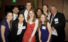 Mark Zoromski (right) and a group of Marquette Wire students at the Milwaukee Press Club Hall of Fame Dinner in November 2019.  Top row: Matthew Martinez, John Steppe, Kennedy Coleman, Bridget Fogarty, Mark Zoromski Bottom row: Natallie St. Onge, Jenny Whidden, Chelsea Johanning, Sydney Czyzon  Photo courtesy of the MPC.
