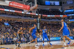 Sacar Anim (2) puts a layup in Marquette's loss to Seton Hall on Senior Day.