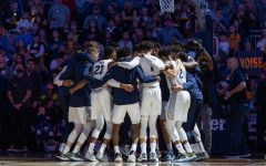 The Marquette men's basketball team gets ready before a game against Central Arkansas on December 28, 2019.