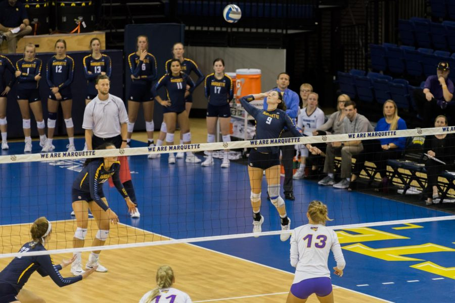 KJ Lines (9) goes up for the kill in Marquettes 3-1 win over University of Northern Iowa on Sep. 21.