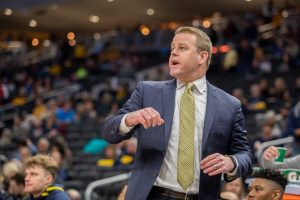 Marquette head coach Steve Wojciechowski coaches along the sideline during a game against Central Arkansas on December 28, 2019.