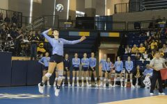 KJ Lines attempts a serve in Marquette volleyball's 3-0 loss to No. 17 Baylor on Sept. 8. (Marquette Wire Stock Photo)