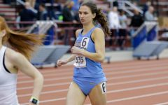 Emma Moravec runs during a track and field meet March 1, 2020. (Photo courtesy of Marquette Athletics.)