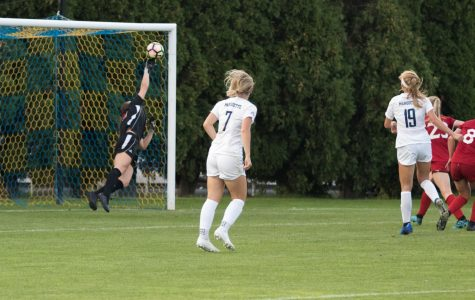 Alex Campana (19) attempting to score a goal against NIU in September of 2019. While Brianna Jaeger (7) is there for assistance.