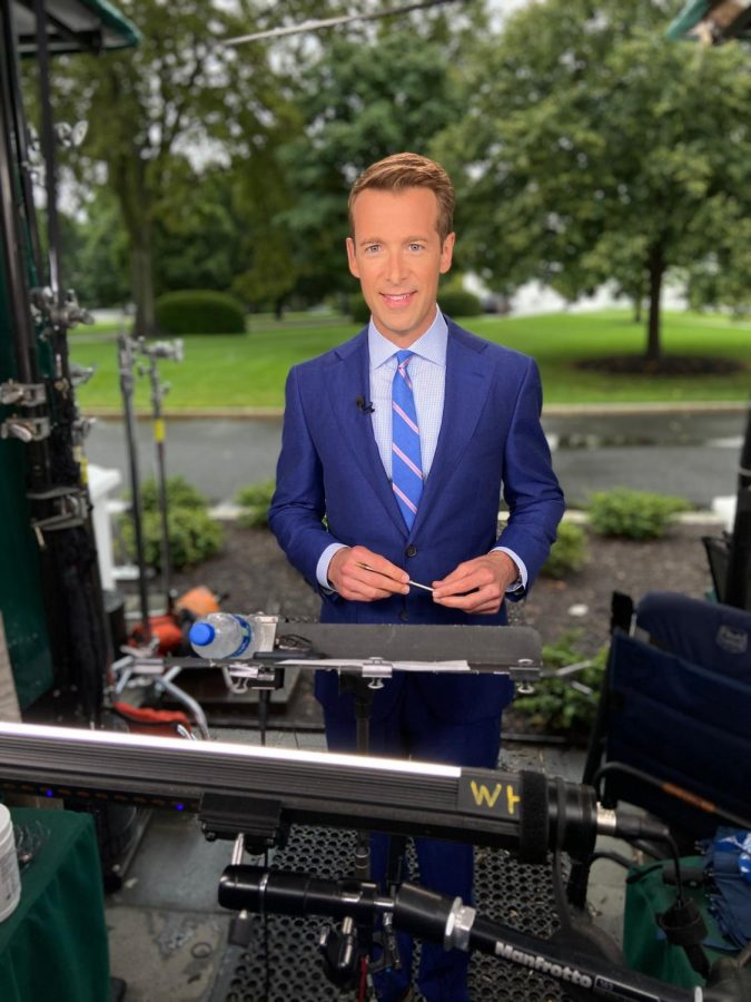 Tracy said he reports from the front lawn after White House press briefings.  Photo courtesy of Ben Tracy