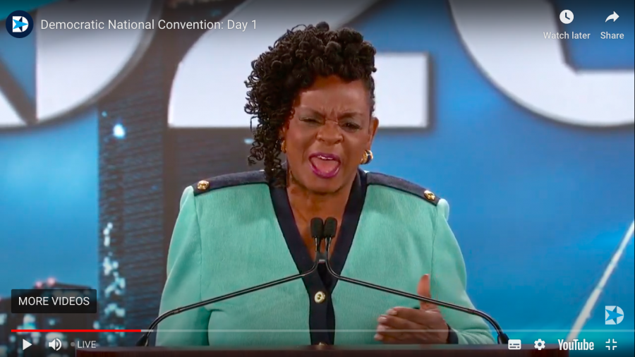 Congresswoman Gwen Moore spoke during the first night of the 2020 Democratic National Convention Monday. Screenshot from DNC live stream.