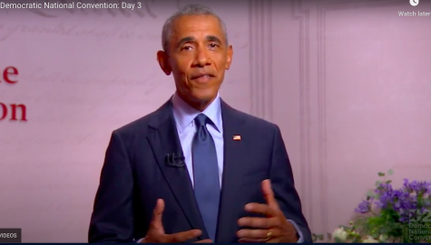 Former President Barack Obama talked about the importance of democracy on the third night of the DNC.  Screenshot from the DNC livestream.
