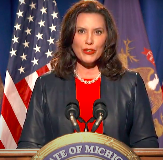 Gov. Gretchen Whitmer speaks at the Democratic National Convention on night one.  Screenshot grabbed from livestream on DNC website.