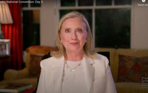 Hillary Clinton spoke on the importance of voting, especially to young voters.  Screenshot from DNC livestream.