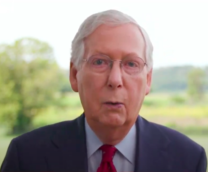 Mitch McConnell speaks on the final night of the Republican National Convention.   Screenshot from DNC livestream.