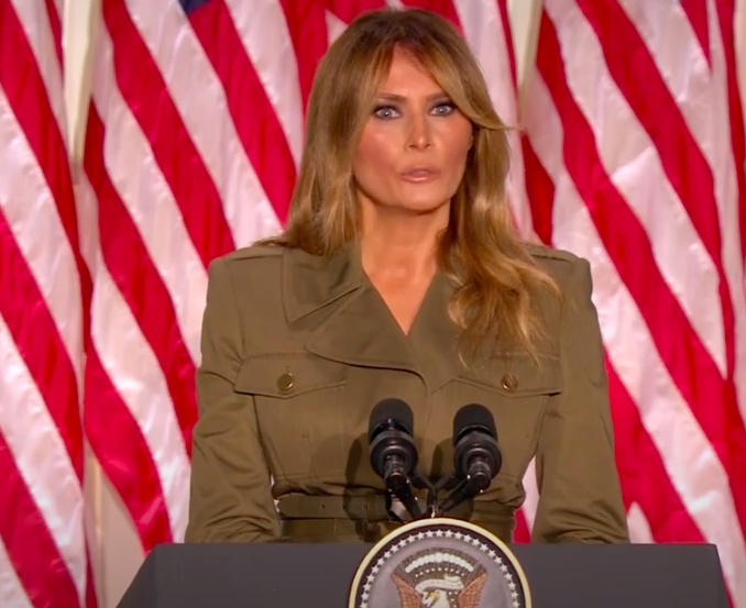 Melania Trump wrapped up the second night of the RNC with a speech.  Screenshot from RNC livestream.