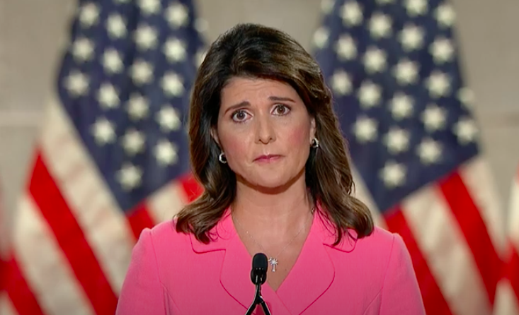 Nikki+Haley+spoke+on+the+first+night+of+the+Republican+National+Convention.+Screenshot+from+RNC+Livestream.+