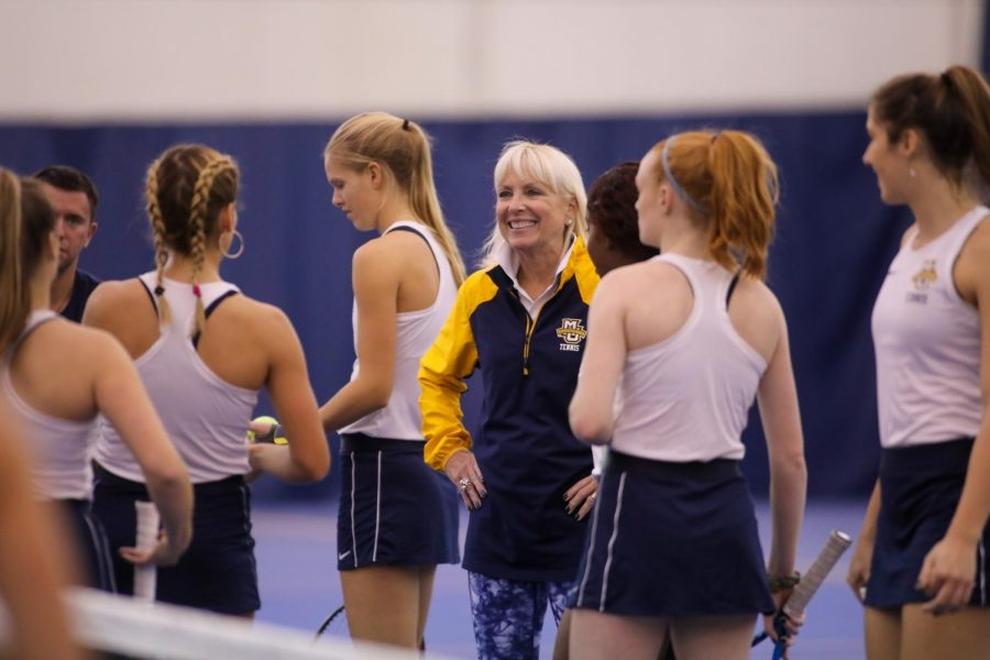 Jody Bronson coaches her team in Nov. 2019. (Photo courtesy of Marquette Athletics.)