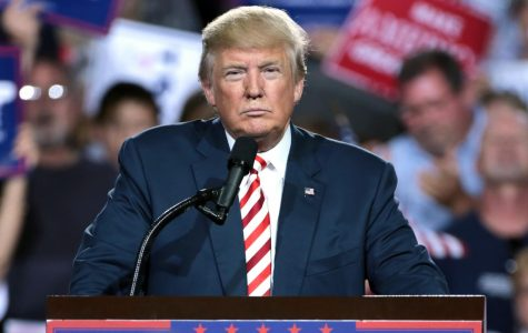 President Donald Trump gives speech in front of crowd at a Prescott Valley, Arizona rally Oct. 4, 2016. Photo via Flickr