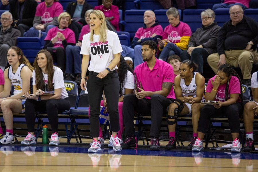 Megan Duffy coaches from the sideline in Marquette's 76-54 win over Butler on Feb. 16 on Play4Kay Day.