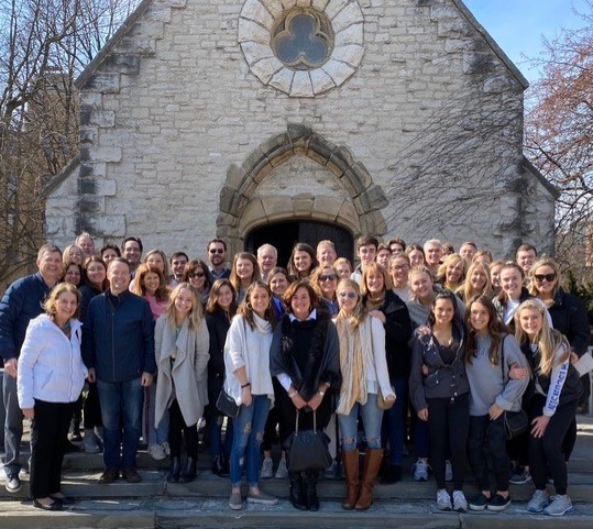Katie Parks and daughters Madelyn and Clare pose in front of St. Joan of Arc Chapel during Fuzzys Weekend of 2020. Photo courtesy Katie Parks.