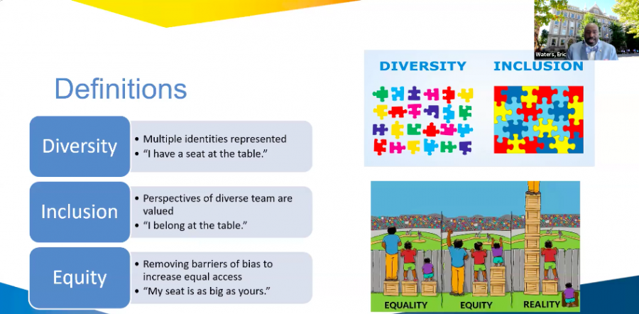During+the+webinar%2C+Waters+differentiated+between+diversity%2C+inclusion+and+equity.
