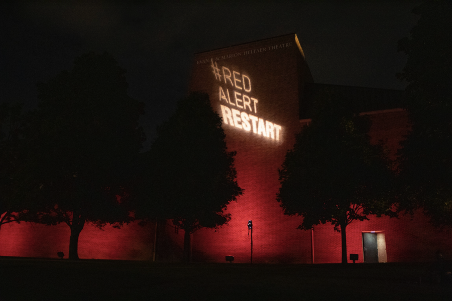 The+Helfaer+Theatre+was+lit+up+red+in+support+of+the+RESTART+Act.