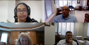 Sumana Chattopadhyay, chair of the University Academic Senate, moderated the meeting.  Screenshot of the Microsoft Teams meeting