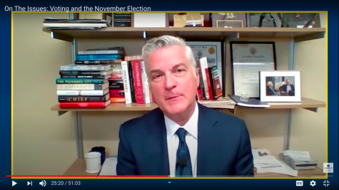 Mike Gousha, distinguished fellow in law and public policy at Marquette University Law School, hosted a conversation with election officials Sept. 16 to discuss the upcoming election and the impact of the pandemic on voting. Screenshot from the discussion