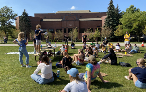 Joseph Miscimarra, co-founder of Fossil Free Marquette, spoke on Marquette's investments.