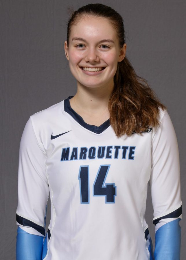 Carly Skrabak is a defensive specialist who transferred from Tennessee Tech. (Photo courtesy of Marquette Athletics.)