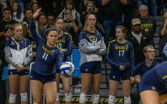 Gabbi Martinez (11) gets ready to serve the ball in a match against Purdue last season.
