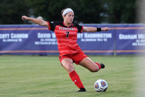 Hailey Block (7) goes to kick the soccer ball. (Photo courtesy of Southeast Missouri State.)