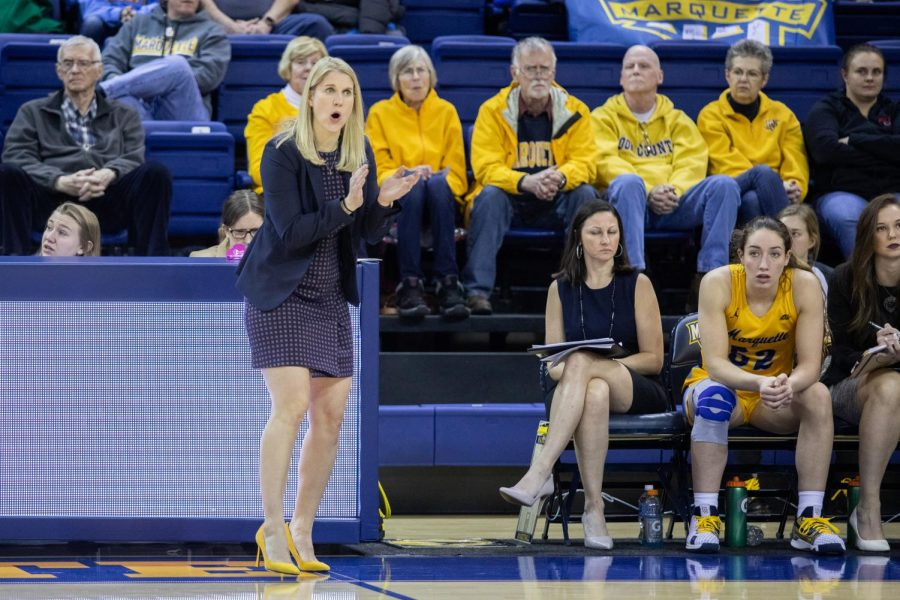 Megan Duffy coaches from the sidelines in Marquette's 94-85 win against St. John's on Jan. 10.