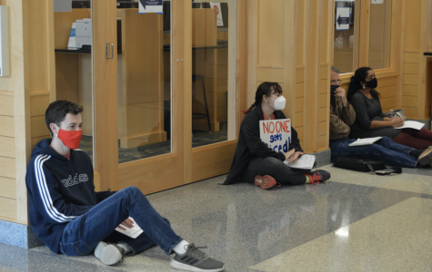 Students filtered in and out of the demonstration, while some stayed at Zilber Hall for nearly 6 hours.