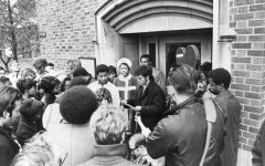 Student gather in protest outside O'Hara Hall on Nov. 4, 1969. Photo courtesy Department of Special Collections and University Archives, Raynor Memorial Libraries, Marquette University.