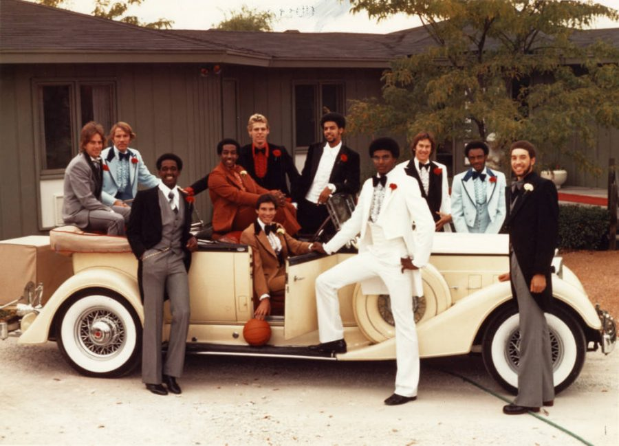 The 1976-77 Marquette men's basketball team included, pictured from left, Jim Boylan, Bill Neary, Ulice Payne, Butch Lee, Jim Dudley, Gary Rosenberger, Bernard Toone, Jerome Whitehead, Craig Butrym, Robert Byrd and Bo Ellis. Photo courtesy the Department of Special Collections and University Archives, Raynor Memorial Libraries, Marquette University.