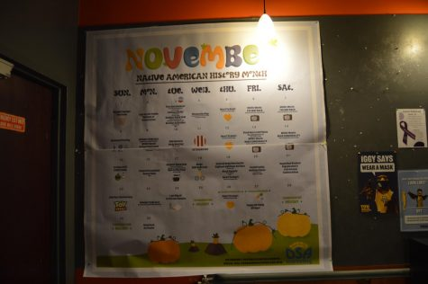 A calendar of university events located in the Brew inside the Alumni Memorial Union.