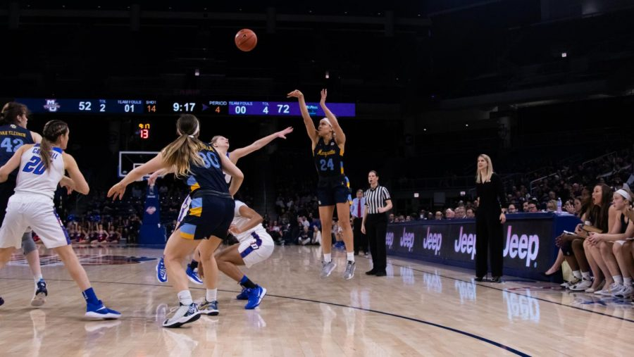 Selena Lott taking a shot against DePaul in the BIG EAS Tournament Finals March 9 at Wintrust Arena.