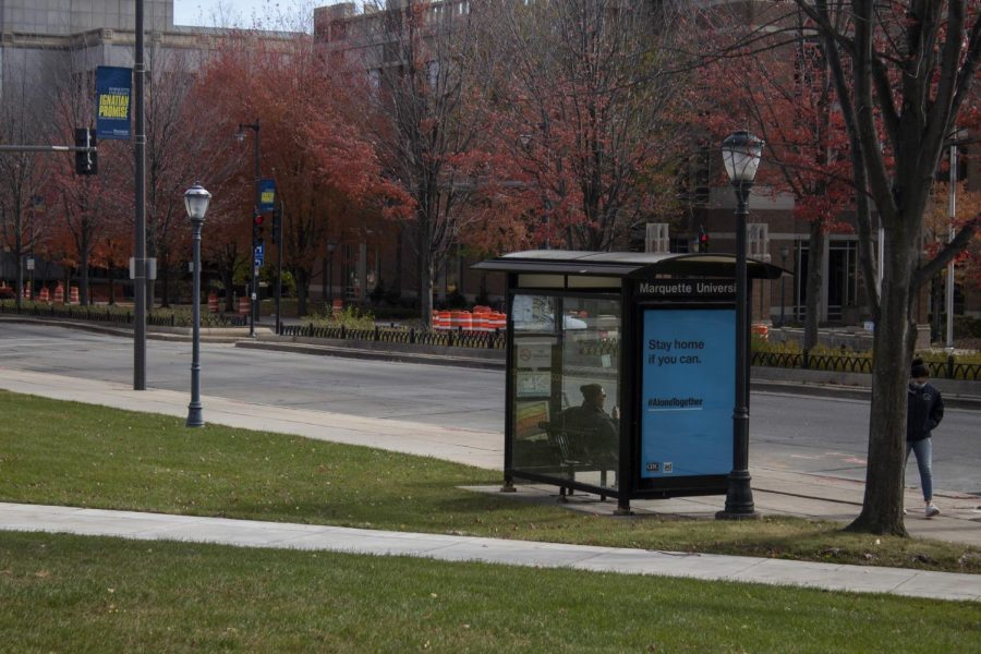 There are several easily accessible bus stops on campus.