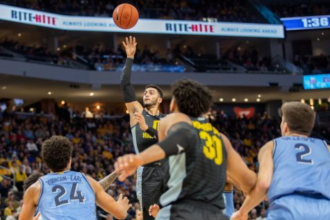 Markus Howard puts up a floater against Villanova last season.