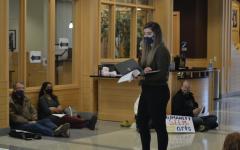 McArdle speaker to fellow demonstrators Oct. 21.