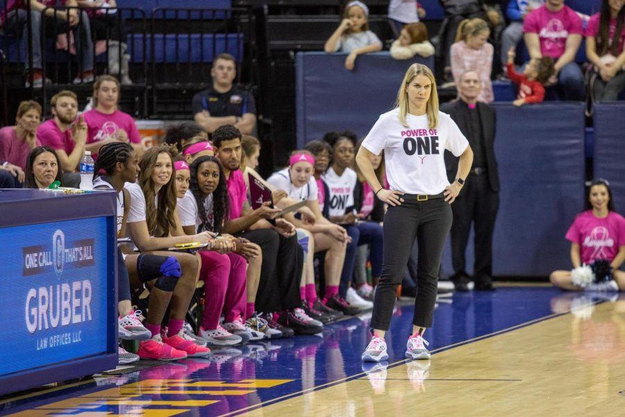 Megan Duffy coaches from the sidelines in Marquette's game against Butler last season at the Al McGuire Center.
