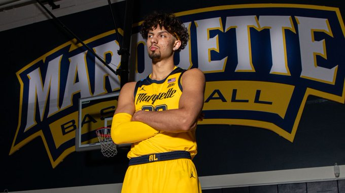 Dawson Garcia poses during Marquette basketball's photo day Oct. 11. (Photo courtesy of Marquette Athletics.)
