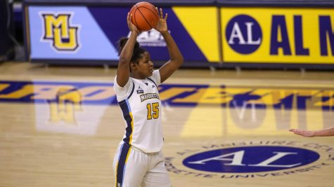 Camryn Taylor was the top scorer for MU during their home opener against UW-Milwaukee (Photo courtesy of Marquette Athletics).