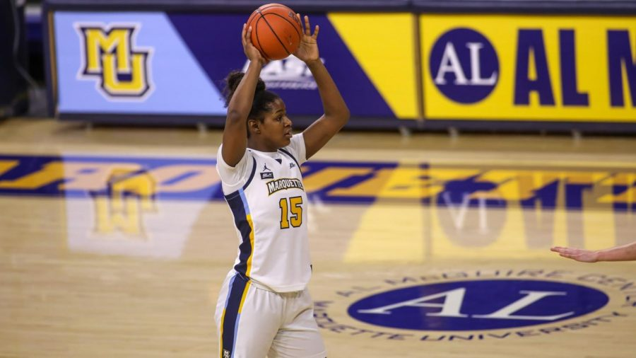 Camryn+Taylor+was+the+top+scorer+for+MU+during+their+home+opener+against+UW-Milwaukee+%28Photo+courtesy+of+Marquette+Athletics%29.