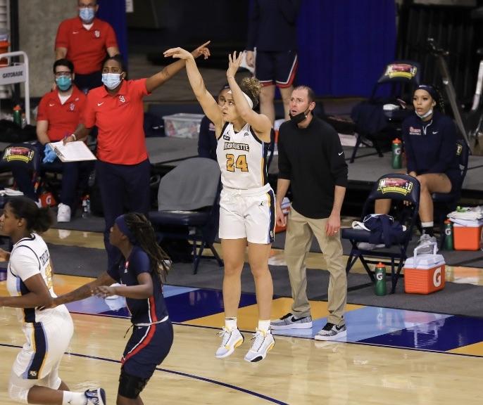 Selena Lott scored 21 points Wednesday against St. John's. (Photo courtesy of Marquette Athletics.)