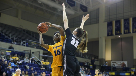 Camryn Taylor (15) goes up for a layup in Marquette's 85-55 win over Providence on Jan. 31 2020. (Photo Courtesy of Marquette Athletics.)