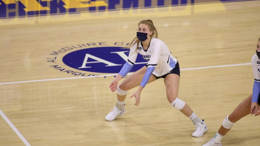Taylor Wolf is a right side hitter and setter who transferred from University of Wisconsin-Green Bay.