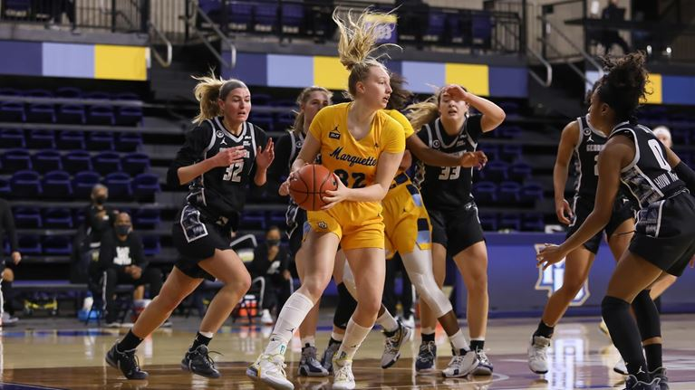 Marquette won their first home game of the 2021 calander year against the Georgetown Hoyas on Wednesday afternoon (Photo Courtesy of Marquette Athletics).