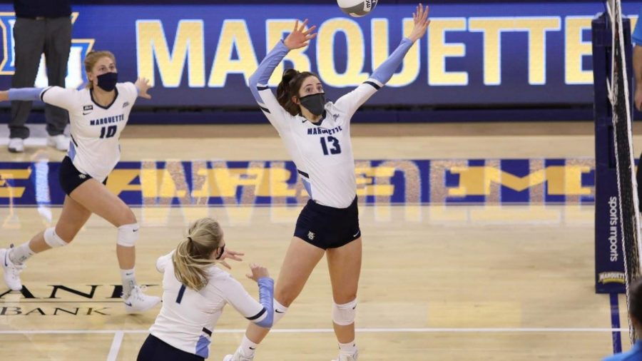 The Marquette volleyball team won their season opener at home againt Illinois State (Photo courtesy of Marquette Athletics).